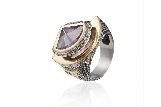 Anel prata e ouro - ASP 1118AL