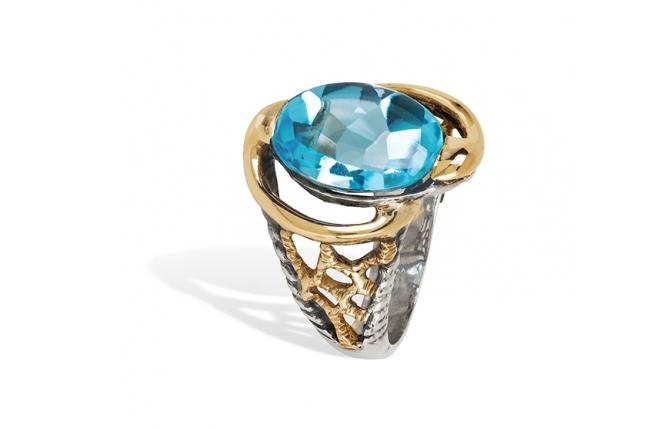 Anel prata e ouro - ASP 1229