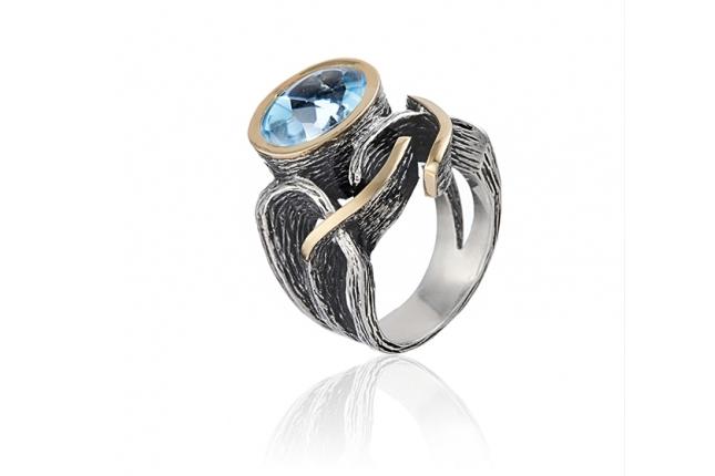 Anel prata e ouro - ASP 1376TA